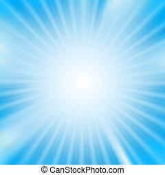 lumière, sur, éclater, fond, cyan