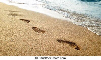 lumière, sur, vagues, sable, vidéo, 4k, mer, mouillé, rouler, plage coucher soleil, encombrements