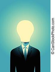 lumière, tête, ampoule, homme affaires