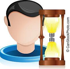 lumière, tête, homme, sablier, ampoule