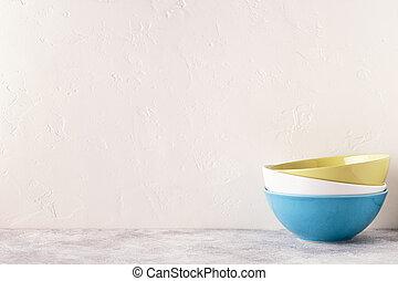 lumière, table., coutellerie, vaisselle