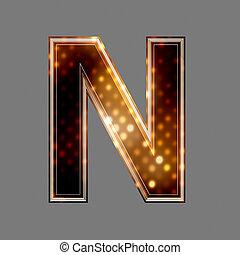 lumière, texture, n, incandescent, lettre, noël
