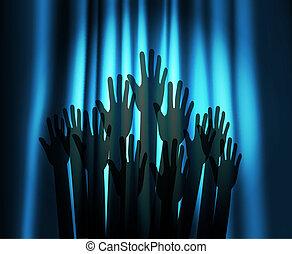 lumière théâtre, tache, mains, rideau, rond