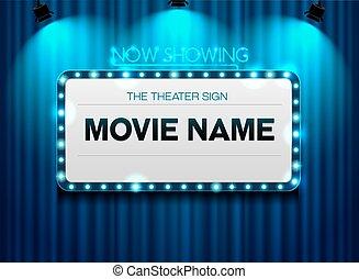 lumière théâtre, tache, signe, fond, rideau