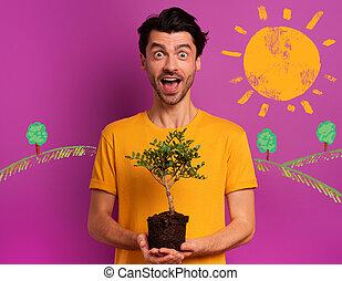 lumière, tient, écologie, petit, être, concept, planté, forestation, sur, garçon, heureux, prêt, arbre, color., conservation