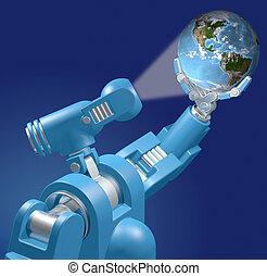 lumière, tient, robot, planète, science, la terre, technologie