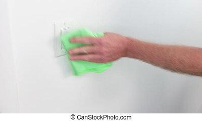 lumière, tissu, commutateur, vert, nettoyage transmet, mâle