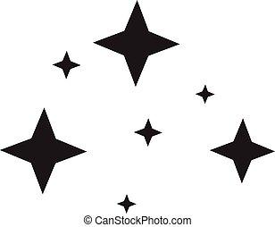 lumière, ton, étincelant, scintillement, scintillement, app, toile, logo., plat, étoile, logo, site, conception, ui., icône, noir, arrière-plan., blanc, style.