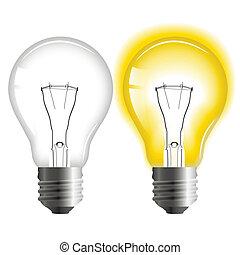 lumière, tourné, fermé, incandescent, ampoule