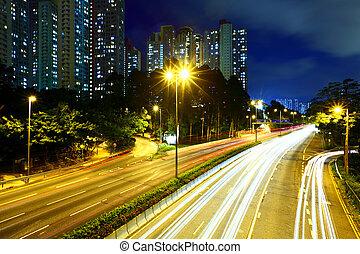 lumière, trafic, autoroute