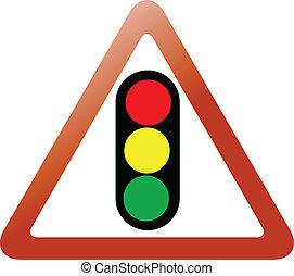lumière, trafic, triangle, signe
