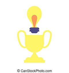 lumière, trophée, ampoule, doré, business