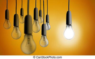 lumière, une, éclairage, ampoule, haut