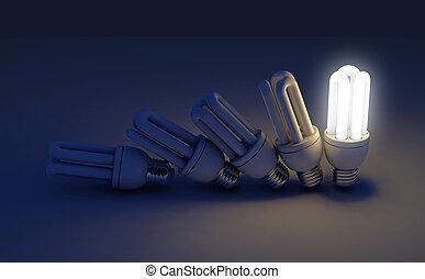 lumière, unique, rang, éclairé, ampoule