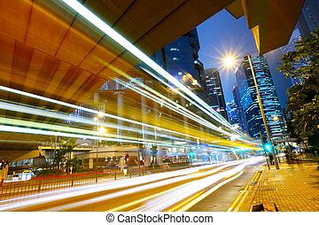 lumière urbaine, futuriste, voiture, ville