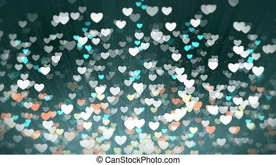 lumière, valentines, arrière-plan., cœurs, brillant, jour