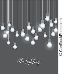 lumière, vecteur, ampoules