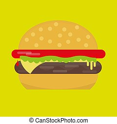 lumière, vecteur, cheeseburger, arrière-plan vert