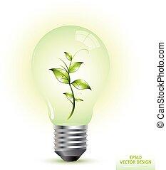lumière, vecteur, vert, ampoule