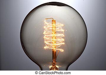 lumière, vendange, haut, incandescent, ampoule, fin