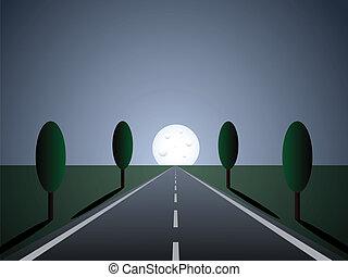 lumière, -, vide, route, lune