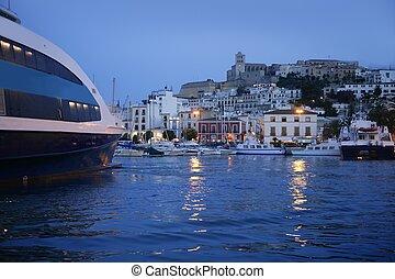 lumière ville, île port, sous, ibiza, nuit