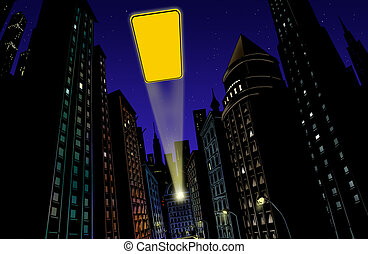 lumière ville, flash, illustration, fond, nuit