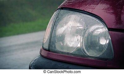 lumière, voitures, passe, clignotant, voiture
