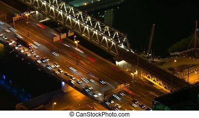 lumière, voitures, rue, en mouvement, trafic, chaud, jeûne, nuit, timelapse: