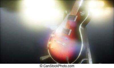 lumières, électrique, clair, sombre, guitare