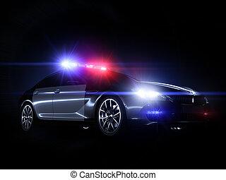 lumières, étalage, entiers, surveiller voiture