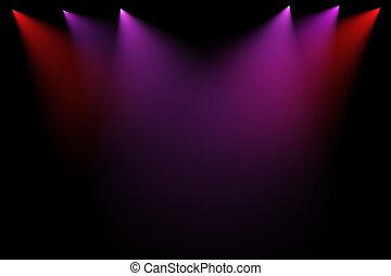 lumières, étape, arrière-plan noir, 3d