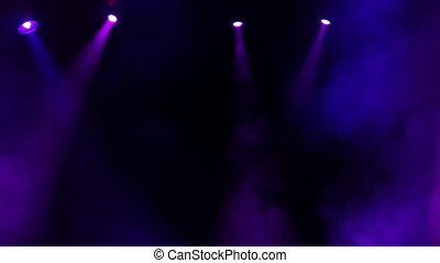 lumières, étape, concert, large