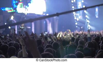lumières étape, mains, concert, clair, haut, audience