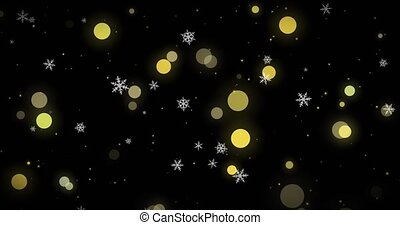 lumières, arrière-plan., doré, render, flocons neige, noir, 3d, bokeh, confetti, noël, blanc, image