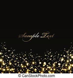 lumières, arrière-plan noir, or