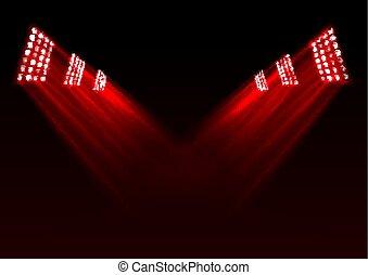 lumières, arrière-plan rouge, étape