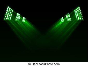 lumières, arrière-plan vert, étape