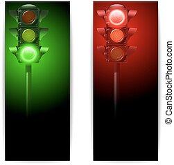 lumières, bannières, trafic