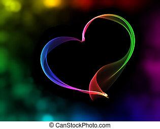 lumières, bokeh, coeur, coloré