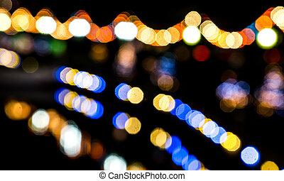 lumières, bokeh, effet, coloré