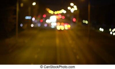 lumières, bokeh, trafic, defocused, fond, nuit
