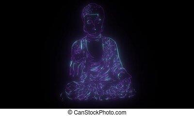 lumières, bouddha, néon, haut, statue