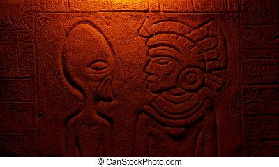 lumières, brûler, aztèque, étranger, mur, découpage, homme