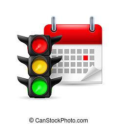 lumières, calendrier, trafic