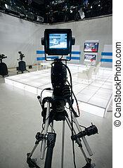 lumières, caméra télévision, studio