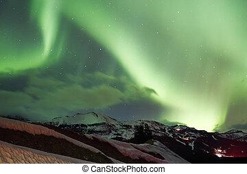lumières, ciel, nord