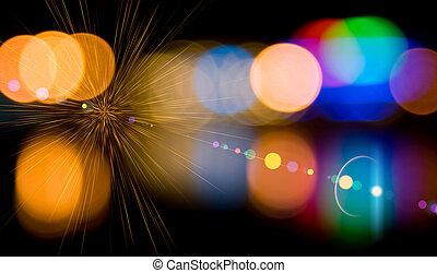 lumières, city., defocused