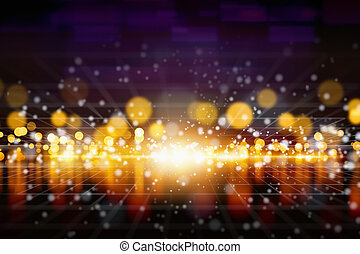 lumières, clair, reflet, jaune