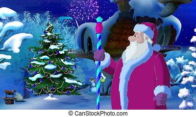 lumières, claus, arbre, noël, santa